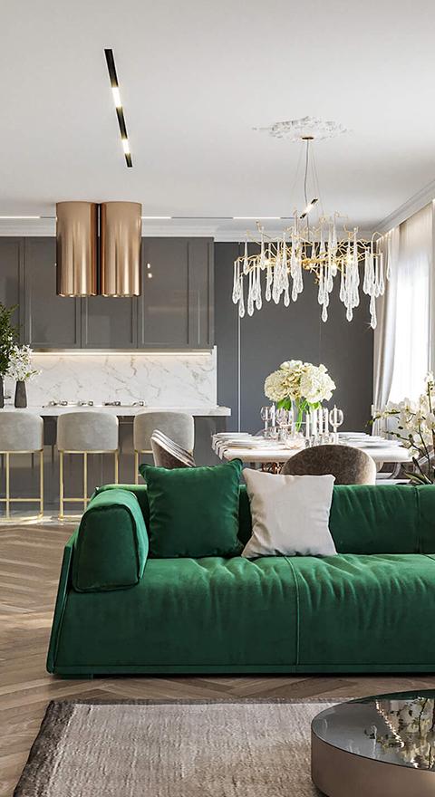 Романичная кухня-гостиная